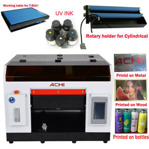 Achi A3 Uv Printer 1390 Printed Head Cylindrical 3d Embossed t Shirt Table