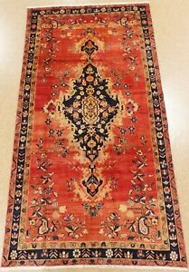 Persiann Luri Tribal Rug Hand Knotted Wool Rust Navy Oriental Carpet 5 X 10