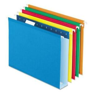 Esselte 5142x2asst Extra Capacity Reinforced Hanging File Folders With Box