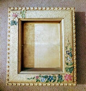 Antique Victorian Shadow Box Wood Picture Frame Gold Ornate With Flowers