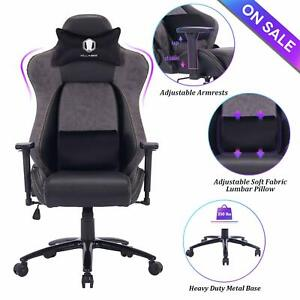 Killabee Big And Tall Gaming Chair Racing Office Chair With Metal Base Gray