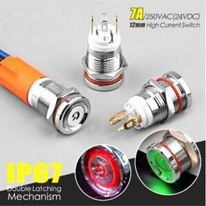12mm Mini 7a High Current Metal Button Self recovery Ip67 Waterproof With Light