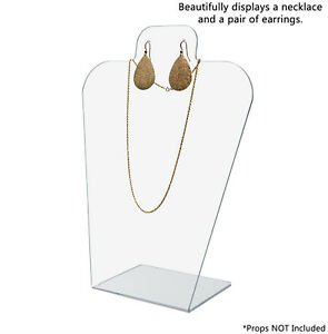 Slantback Earring And Necklace Holder Acrylic Display Stand Lot Of 12