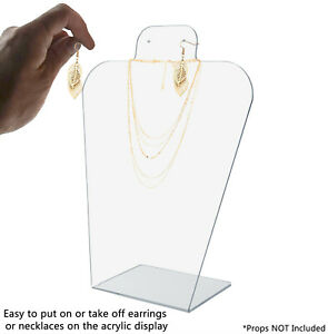 Slantback Earring And Necklace Holder Display Stand Acrylic Qty 6