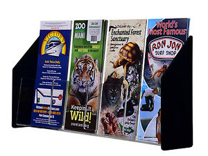 4 Pocket Brochure Pamphlet Holder For 4 w Literature Clear Black Acrylic Qty 6