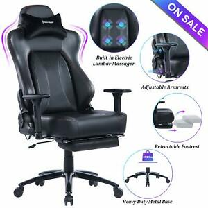 Von Racer Big Tall Massage Reclining Gaming Office Chair With Metal Base black