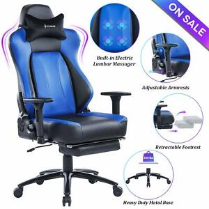 Von Racer Big Tall Massage Reclining Gaming Office Chair With Metal Base blue
