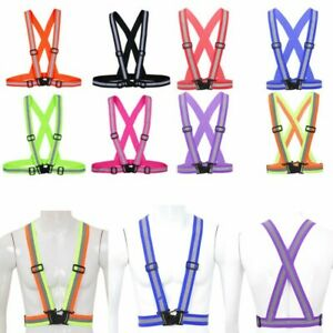 Us Reflective Safety Belt Vest Adjustable High Visibility For Run Walk Bicycle