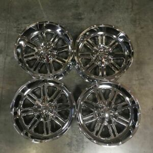 Used 20x12 Truck Fit Lifted Chevy 8x6 5 8x165 1 44 Chrome Wheels Set 4