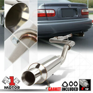Ss Catback Exhaust System 4 Beveled Tip Muffler For 92 00 Honda Civic 2dr 4dr