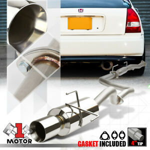 Ss Catback Exhaust System 4 beveled Tip Muffler For 96 00 Honda Civic 3dr Hb D16