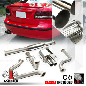 Ss Dual 2 5 Muffler Tip Catback Exhaust System For 03 11 Saab 9 3 2 0 Turbo 2 0t