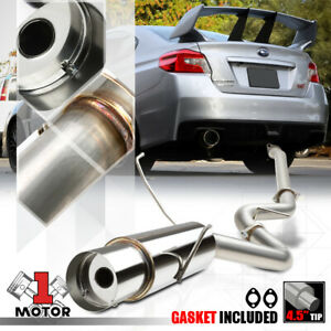 Ss Catback Exhaust System Single 4 5 Muffler Tip For 15 17 Subaru Wrx sti Va gj