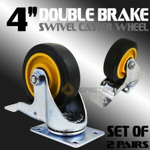 4 Inch Swivel Caster Wheels Pu Threaded Stem 4 Pcs 4 With Brake And Plate