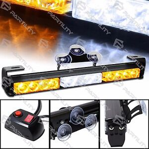14 Inch Led White Amber Light Emergency Warning Strobe Flash Bar Hazard Security