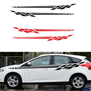 2pcs Auto Car Long Stripe Graphics Side Skirt Body Vinyl Decal Sticker Black Red