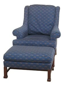 F47855ec Hickory Chair Co Chippendale Mahogany Wing Chair Ottoman