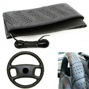 Black Lace On Steering Wheel Cover Grip Classic Stretch Accessory Auto Vehicle