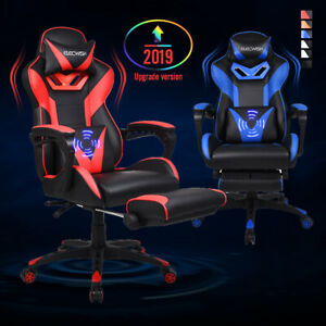 Massage Video Race Style Gaming Chair Pu Leather Swivel Reclining Seat Footrest