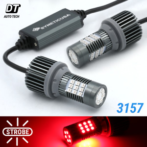 Syneticusa Canbus Error Free 3157 Red Led Strobe Flash Brake Tail Parking Bulbs