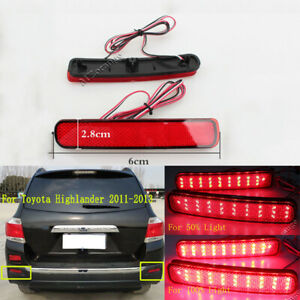 For Toyota Highlander 2011 2012 2013 Led Rear Bumper Reflector Tail Light Lamps