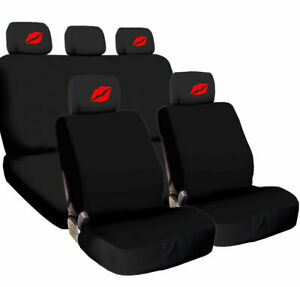For Vw New Car Truck Seat Covers Red Kiss Lip Headrest Black Fabric