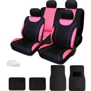 For Toyota New Flat Cloth Black And Pink Car Seat Covers With Mats Set