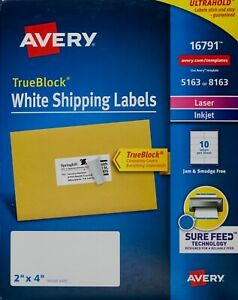 Avery 16791 Truebock White Mailing Address Shipping Labels Inkjet Laser 2 X 4