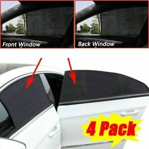 4pcs Car Side Window Sun Shade Cover Visor Mesh Shield Sunshades Uv Protection