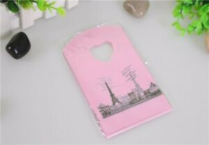 Hot Sale Wholesale 50pcs lot Pink Eiffel Tower Packaging Bags Plastic Shopping B