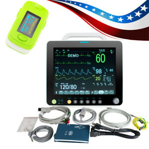 Portable Medical 6 paras Vital Signs Patient Monitor Alarm Cardiac Machine Case
