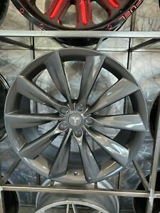 21 Staggered Turbine Style Gunmetal Grey Rims Wheels For Tesla Model S