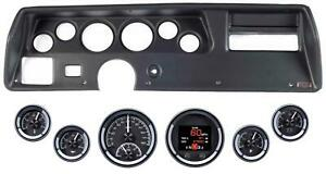 70 72 Chevelle Ss Black Dash Carrier W Dakota Digital Black Hdx Universal Gauges
