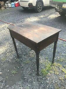 Antique Wooden Table Desk With Pull Out Work Surface Primitive Farm House