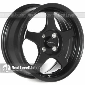 Circuit Cp22 15x6 5 4 100 35 Flat Black Wheels Fits Honda Civic Eg Ek Spoon New