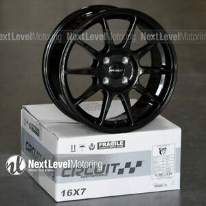 Circuit Cp23 16x7 4 100 35 Gloss Black Wheels Type R Style Fits Honda Civic Jdm