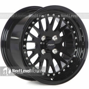 Circuit Cp21 15 8 4 100 25 Full Gloss Black Wheels Fits Acura Integra Dc2 Mesh