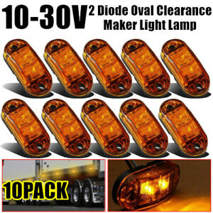 10pcs Amber Led Lamp 2 5 2diode Oval Clearance Trailer Side Signal Marker Light