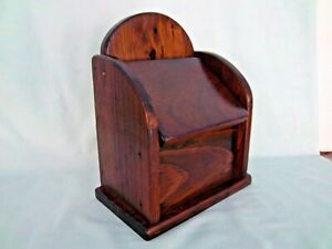 Wood Box Recipe Card Holder Vintage Oak Wall Hang Or Stand Counter Wooden Box