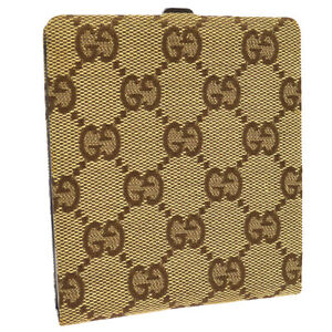 Gucci Gg Pattern Name Card Holder Case Beige Canvas Italy Authentic A46743f