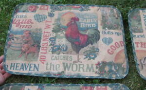 Set Of 4 Vintage Antique Country Primitive Table Placemats Farm Pig Rooster