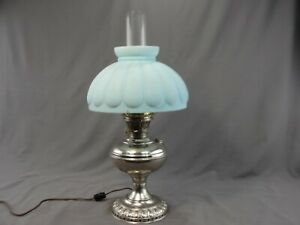 Antique Nickel Plate Student Oil Table Lamp Blue Glass Shade Electrified Working