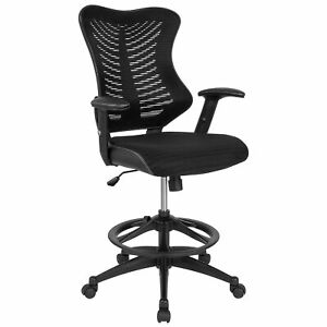 Flash Furniture High Back Designer Black Mesh Drafting Chair With Leather New