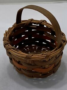 Antique Miniature Gathering Basket Dyed Oak Split 2 1 2 Primitive Southern