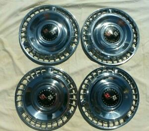 Vintage 1961 Chevy Impala Biscayne Belair Racing Flag Hubcaps Wheel Covers