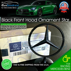 Mercedes Benz Matte Black Front Hood Ornament Star Oem Mounted Emblem C E S Amg