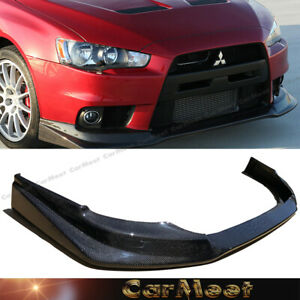 Fit Lancer 08 13 Evo10th Sedan Tuning V Type Carbon Fiber Front Bumper Lower Lip