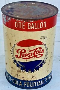 Vintage 1950 s Pepsi Cola One Gallon Fountain Syrup Can Soda Bottle Cap Logo