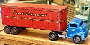 Vintage 1950 s Structo Transport Semi Tractor Trailer Blue Truck Pressed Steel