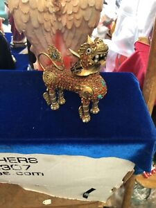 Antique Chinese Filigree Wire Cloisonne Enamel Foo Animal Small Figurine